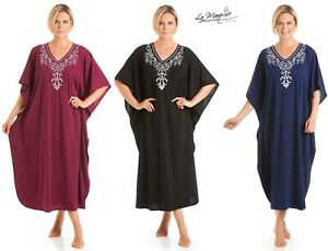 Ladies Long Kaftan Embroidered Floral Jersey Nightwear One Size