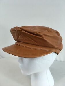 Lord & Taylor Made Italy Butterscotch Leather Cabbie Newsboy Gatsby Driving Cap
