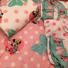 Vintage Minnie Mouse Twin Bedding Comforter Flat Fitted Sheet Blanket PC Disney