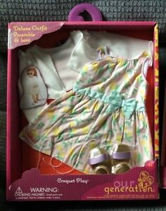"""Our Generation 18"""" Doll Outfit NIB Retro Croquet OUTFIT ONLY NO ACCESSORIES"""