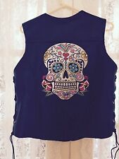 Sugar Skull Day of The Dead Ladies Biker Motorcycle Back Patch - REFLECTIVE