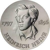 DDR 10 Mark Silbermünze 1972 stgl. Heinrich Heine in Münzkapsel