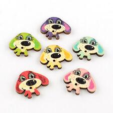 El botón del grano y-Caja de 10 Botones de costura de Madera Lindo Cachorro Perros. 26x30x3mm,