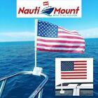 Boat Flag Pole Mount Holder Fit To 78 - 1 Rail Adjustable White Nauti Mount