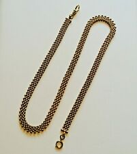 "Antique Gold watch chain Necklace. Articulated gold fill. 22"" bib collar mesh"