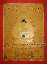"""43.75"""" x 39.5"""" Shakyamuni Buddha Gold Buddhist Tibetan Thangka Scroll Painting"""