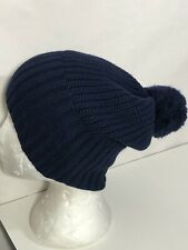 UGG Australia Beanie Unisex OS Navy Blue Rib Knit Pom Pom Slouchy or Cuffed **