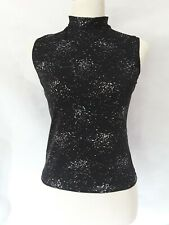 Ladies Sleeveless Turtle Neck Fitted Sparkle Top Black Size Medium Large