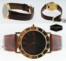 BVLGARI BB33GL 18K Yellow Gold & Red Leather Strap Unisex 33mm Watch