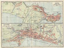 Carta geografica antica GAETA Latina SALERNO Piante TCI 1928 Old antique map