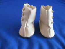 Monique High Top Button Doll Boots, Beige, NEW