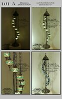 9 BALL TURKISH MOSAIC FLOOR LAMP WITH Medium GLOBES, Product Id: 101