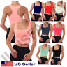 Womens Crop Cropped Scoop Neck Racer Back Basic Tank Top T-Shirts Tee Cotton