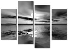 4 PANEL TOTAL SIZE 90x70cm ABSTRACT ART  DIGITAL  PRINT MOUNTED Riva Black White