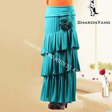 SHARON TANG Modest Apparel Long Green Knit Layer Flowers Skirt M ST132080007-3