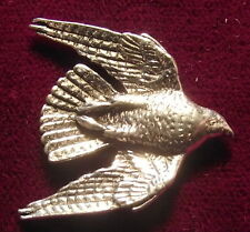Pewter Diving Hawk Falconry Brooch Pin  Signed