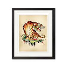 CROUCHING TIGER Old School Tattoo Flash Art Poster Print