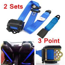 2 Sets Blue Adjustable Retractable Car Truck Seat Belt Kit 3 Point Safety Travel