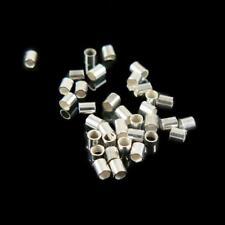 1.3mm outside diameter silver plated crimp tubes, 10 grams (~ 1400 pcs)