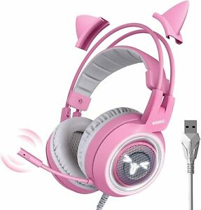 SOMIC G951 Pink Gaming Headset with Mic for Xbox One PS5 PS4 PC Cat Ear USB