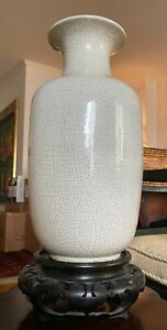 Antique Chinese Crackle Glaze Decorative Vase with Carved Wood Stand