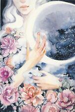 VIKTOROVA My Satellite Fantasy girl hugs moon flowers Russian modern postcard