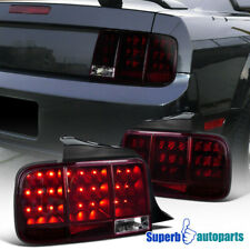 For 2005-2009 Ford Mustang LED Tail Lights Sequential Signal Smoke Red