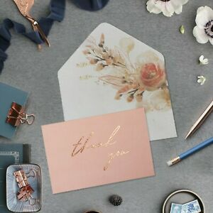 20 Gold Foil Thank You Cards with Envelopes & Stickers | Wedding, baby shower