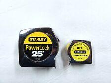 VINTAGE LOT 2 STANLEY POWER LOCK TAPE MEASURES 25' #33-425 & 8' #PL8 LIGHTLY USE