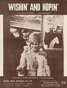 Dusty Springfield-Wishin' And Hopin'-1964-Sheet Music-Original Australian issue