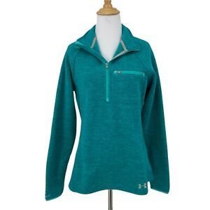Under Armour Storm Fitted Cold Gear Sweater Women's Size M 1/4 Zip Pullover Teal