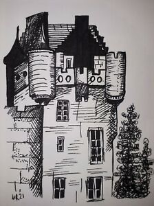 DAILY SKETCH:Original Ink Drawing 'Brodick Castle' by Michelle Ranson