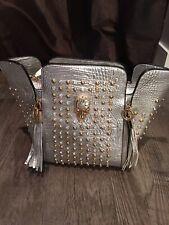Unique  BLING Silver Skeleton Studded Handbag Purse With Tassles