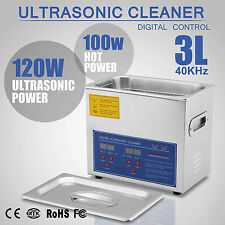 Digital Ultrasonic Cleaner Stainless Steel Heater Timer Industrial Grade 3L Tank