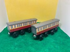 Express Coaches Pair EUC Rare! THOMAS & FRIENDS TRAIN ENGINE WOODEN RAILWAY WOOD