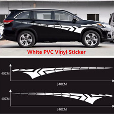 2Pcs White 340x40cm Sport Racing Car Side Door Body Vinyl Decal Graphic Sticker