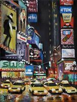 YARY DLUHOS ORIGINAL OIL PAINTING Times Square NYC New York City Night Lights