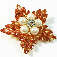 USA BROOCH using Swarovski Crystal PIN Wedding Bridal Flower Orange PEARL gold