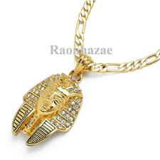 """NEW ICED OUT KING TUT PHARAOH MICRO PENDANT 5mm 24"""" FIGARO CHAIN NECKLACE K7263G"""