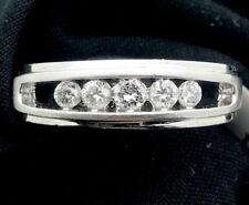 Channel Set Engagement Wedding Simple Men's Ring 14k White Gold 2.16 Ct Diamond