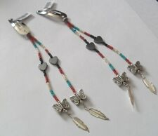 Bead Hair Clip Pair ~ ~ Hearts Butterflies and Feathers Seed