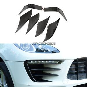 Real Carbon Fiber Front Bumper Fog Light Bezel Lip Trim For Porsche Macan 2014 +