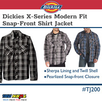 Dickies Men's Modern Fit Snap Front Twill Shirt Jacket Casual Plaid Sherpa Lined