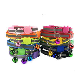 Anti Choke Cat/Dog Collar With Bells Charm Necklace Collar Reflective strip