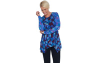 LOGO by Lori Goldstein Knit Long Sleeve Top with Contrast Print Vineyard L A3427