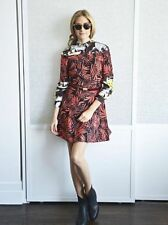 Zara Woman Red Palm Leaf Printed Off Shoulder Kleid S 8 10!