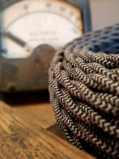Cloth Covered Twisted Wire - Black/Gray Pattern, Vintage Style Fabric Lamp Cord
