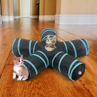 Foldable Cat Tunnel 4 Way Pop up Pet Kitten Training Toy Rabbit Play Tube UK