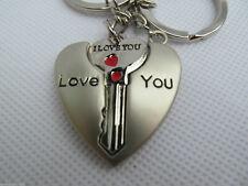 LOVERS COUPLES I LOVE YOU SET OF TWIN KEYRINGS HEART AND KEY JIGSAW GIFT IDEA UK