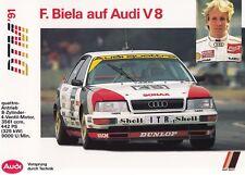 AUDI V8 Limousine DTM Frank Biela Prospekt Brochure Sheet Motorsport 1991 18